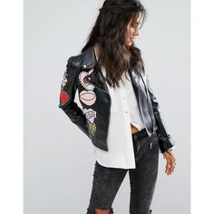 Glamorous Faux Leather Biker Jacket With Embroidered Heart Patches (65 CAD) ❤ liked on Polyvore featuring outerwear, jackets, black, studded moto jacket, biker jackets, faux-leather jackets, faux leather moto jacket and vegan leather moto jacket