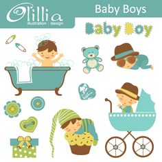 Baby boys - cute little boys set with 13 adorable graphics.  Great for scrapbooking and more.