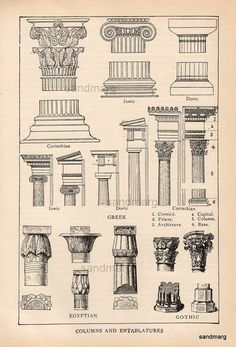Antique Edwardian  Architectural Print of Columns and Entablatures Egyptian Gothic Greek Corinthian.