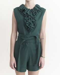 Silk Jabot Short Jumpsuit with Obi Belt in Green By Electric Feathers