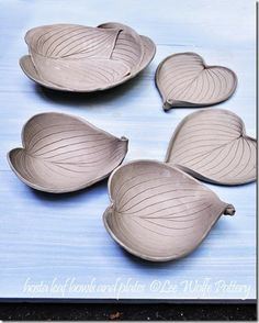 hosta plates and bowls - just made in stoneware, not fired yet