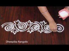 very simple and easy border rangolisII small border kolangal videos II sides rangolis Easy Rangoli Designs Videos, Rangoli Side Designs, Simple Rangoli Border Designs, Rangoli Designs Latest, Rangoli Borders, Free Hand Rangoli Design, Small Rangoli Design, Rangoli Patterns, Rangoli Designs Diwali