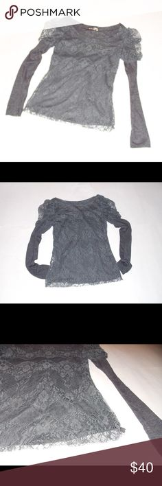 Bohemian gypsy gothic Glam gray lace top soft Vintage 90s super soft layered lace top is so pretty, and only worn once! Perfect for romantigoth, gypsy or steampunk look. The soft airy ness cannot be described fully -truly divine! Color is charcoal gray, puffy layered lace shoulders. Very stretchy. Length is 17.5 front, 21.5 back. Chest about 15 across, unstretched, shoulder seam to seam about 15, sleeves 24 shoulder to end of sleeve, 18 underarm to end of sleeve. Made by elf sack. elf sack…