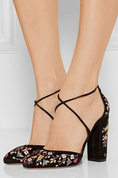 Aquazzura | Karlie embroidered suede pumps | NET-A-PORTER.COM