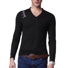 Mens Casual V neck Long Sleeve T-shirt (T110Z)