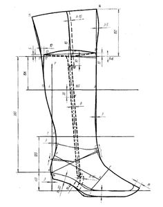 """SHOEMAKING  High boots PATTERN: how to design """"over the knee"""" thigh woman boots ( all measurement shown are in mm)"""