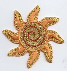 Iron On Embroidered Applique Patch Shimmery Yellow Beach Spiral Sun