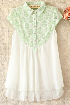Sweet Floral Detailed Lace Yoke Shirt OASAP.com