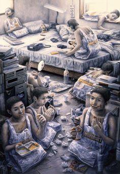 Japanese contemporary art Painting by Tetsuya Ishida -- Japanese Contemporary Art, Contemporary Paintings, Japanese Art, Art And Illustration, Surreal Artwork, Surrealism Painting, Art Corner, To Infinity And Beyond, Dark Art