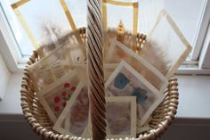 still parenting: Make light catchers for light table using natural materials