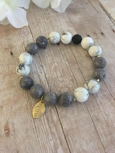 Gray and Gold Leaf Bracelet; Charm Bracelet; Essential Oils Diffuser Jewelry; Bracelet; Jewelry; by HolyBombshell on Etsy https://www.etsy.com/listing/533190917/gray-and-gold-leaf-bracelet-charm