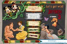 Disney Jungle safari Birthday Invitation - Jungle book - Tarzan - Lion King Mickey & Minnie