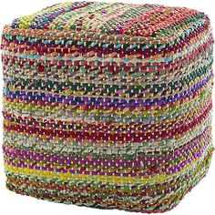 square recycled rag pouf  | CB2