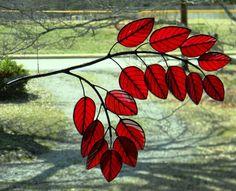 Autumn Poplar Branch Deep Red by OriskanyGlass on Etsy