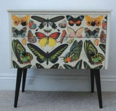 ⋴⍕ Boho Decor Bliss ⍕⋼ bright gypsy color & hippie bohemian mixed pattern home decorating ideas - upcycled butterfly chest
