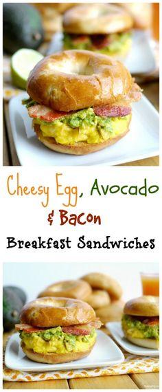 Cheesy Egg Avocado and Bacon Breakfast Sandwiches #avocado #breakfastsandwich
