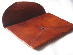 Large leather clutch Sleeve Case in Leather  15 Inch MacBook  Over size Clutche. $110.00, via Etsy.