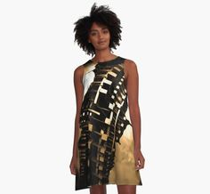 The Inner Core Beautiful Architectuew Gold Bronze Sleeveless Womans A Line Dress by Hena Tayeb