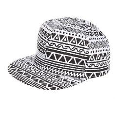 Black Aztec Print Flat Peak Cap (17.040 COP) ❤ liked on Polyvore featuring accessories, hats, peaked cap, flat cap hat, peak hat, peak cap and peaked hat