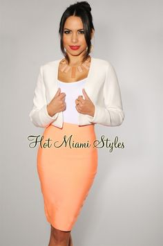 $34.99 Neon Coral Elastic Fitted Knee Length Skirt