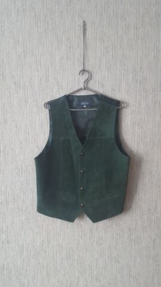 Vintage Men's Vest Green Waistcoat  Real Leather Size L by TinutesCreations on Etsy