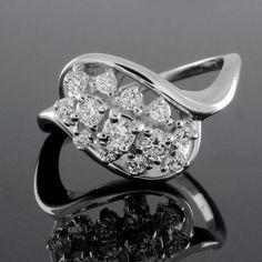 3/4 ct (0.75ct) Round Cut VVS Diamonds Platinum Cluster Promise Ring #PromiseRing
