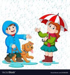 A couple under an umbrella walking in the rain Vector Image Cute Cartoon Girl, Cartoon Pics, Leaf Crafts, Craft Stick Crafts, Autumn Activities, Preschool Activities, Drawing For Kids, Art For Kids, Weather Cards