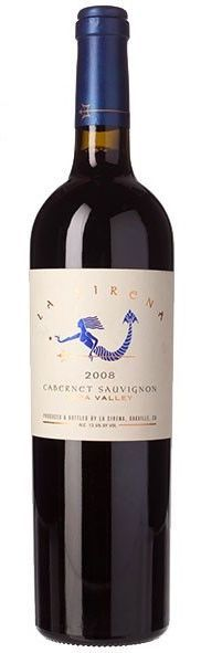 La Sirena 2008 Cabernet Sauvignon - Gorgeous deep ruby color with a profound nose of black cherry, currants, ripe wild blackberries, a touch of cinnamon and spice, accented lightly by sweet toasty French oak.  A very pure, layered wine, silky mouthfeel with bursts of flavor that mirror the aromas.