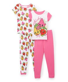 Take a look at this Shopkins™ Hot Pink Four-Piece Pajama Set - Toddler & Girls today!