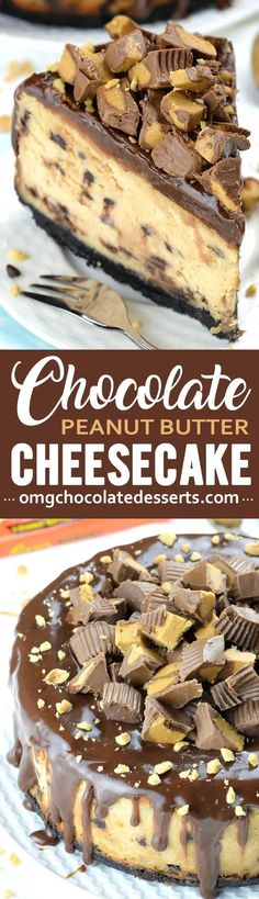 Chocolate Peanut Butter Cheesecake | An Easy Reese's Cup Cheesecake Köstliche Desserts, Chocolate Desserts, Delicious Desserts, Dessert Recipes, Reese's Chocolate, Chocolate Cupcakes, Awesome Desserts, Chocolate Caramels, Pie Dessert