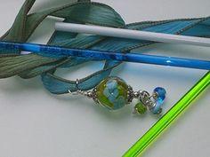 Items similar to Aqua Flower pendant on Fairy Ribbon on Etsy Flower Pendant, Aqua, Ribbon, Fairy, Beads, Flowers, Etsy, Tape, Beading
