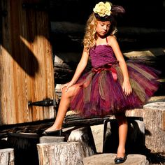 Girls Autumn Burgundy and Plum Tutu with Wide by TutuGorgeousGirl, $45.00