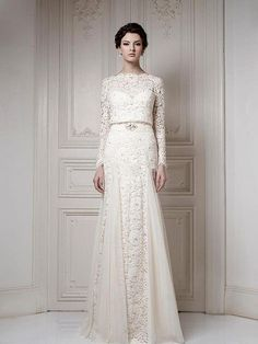 Wholesale - Best Selling Bateau Ivory A-line Long Sleeves Sash Cool Muslim Lace Bridal Gown 2013 Wedding Dresses $199.00