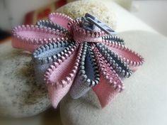 Pink & Grey zipper flower brooch $10