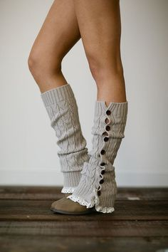 Ivory Knitted Leg Warmers Button Up Boot Socks Knitted
