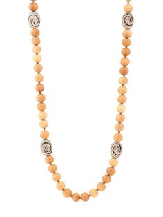 Randi Elyse Sterling Silver Pave Diamond Snake Beads on Sandalwood Bead Necklace. Available at London Jewelers!