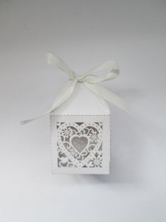 Luxury Wedding Sweet Gift Favour Boxes White Pearlised Love Heart cut-out design - Ready assembled
