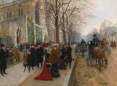 JEAN BÉRAUD | Après l'office à l'église de la Sainte Trinité, Noël 1890