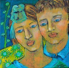Folk Art - Acrylic Painting of Romantic Couple - Loves Soft Dance | SpiritArt - Painting on ArtFire