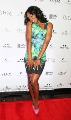 Kelly Rowland's Vegas Magazine's 9th Anniversary Party Roberto Cavalli Printed Crepe-Jersey Dress