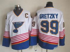 NHL St. Louis Blues #99 Gretzky White Jersey with C Patch