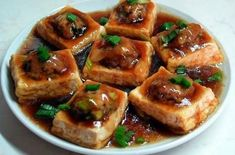Foodista | Chinese-Style Pan-Fried Stuffed Tofu With Oyster Sauce