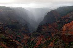 Waimea - Landscape Photo, Nature Photography, Hawaii Kauai canyon rocks mist. $20.00, via Etsy.