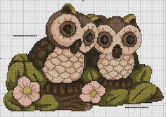 Two owls schema gufi thun Cross Stitch Owl, Just Cross Stitch, Cross Stitch Animals, Cross Stitch Designs, Cross Stitching, Cross Stitch Embroidery, Hand Embroidery, Cross Stitch Patterns, Owl Sewing