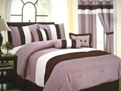 "7pc Queen Size Echo Comforter Set Purple/brown/beige Spread Bed in a Bag New by Linen and Furniture. $47.49. 7Pc Comforter Set. 100% Polyester. Beautifully Elegent Design. Machine Washable. Queen Size. (1) Queen 86""x86"" Comforter  (1)  Queen 60""x80""+14"" Dust Ruffle   (2)  Queen 20""x26""+2"" Pillow ShamS  (3) Decorative Pillows  This Beautiful Comfoter set will take your bedroom   to the next level of elegence. This comforter set comes in a  great carrying bag which makes it gr..."