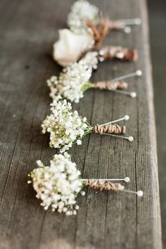 Baby's Breath Boutonnieres for Rustic Wedding