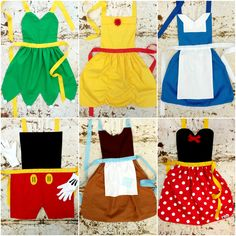 Set of 6. Pick from Snow White Cinderella by QueenElizabethAprons