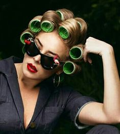 Roller Set, Curlers, Vintage Glamour, Her Hair, Round Sunglasses, Curly Hair Styles, Rolls, Beauty, Fashion