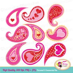Valentine's Day Clip Art Set Pink Red hearts Lovely paisley design Cliparts love elements Valentine Clipart Paisleys polka dots pf00079 by PaintingFairyClipart on Etsy
