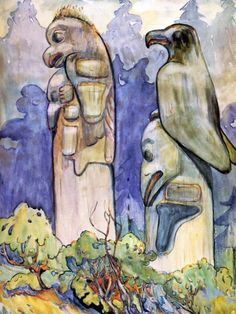 Tanoo by Emily Carr, watercolor on paper, ca. Canadian Painters, Canadian Artists, Emily Carr Paintings, Spiritual Images, Winslow Homer, Painting Activities, Post Impressionism, Impressionist Paintings, Colorful Paintings